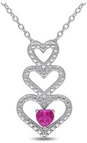 """Allura .33 CT. T.W. Heart Shaped Created Ruby Tiered Heart Pendant Necklace in Sterling Silver - (18"""")"""