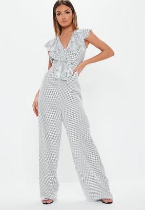 Missguided Tall White Polka Dot Print Wide Leg Jumpsuit