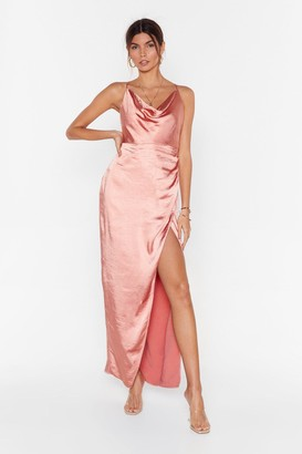 Nasty Gal Womens Don't Cowl Me Angel Satin Maxi Dress - Apricot