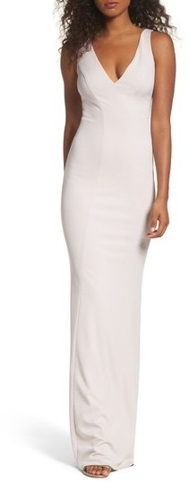 Katie May Women's V-Neck Crepe Gown