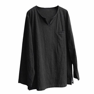 JUTOO Mens Brief Breathable Comfy Solid Linen Long Sleeve Loose Casual T Shirt Blouse(Black XXX-Large)