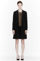 3.1 Phillip Lim Black Crossfront Leather-trimmed Crombie Coat