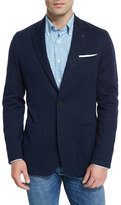Canali Jersey Pick-Stitch Two-Button Sport Coat, Navy