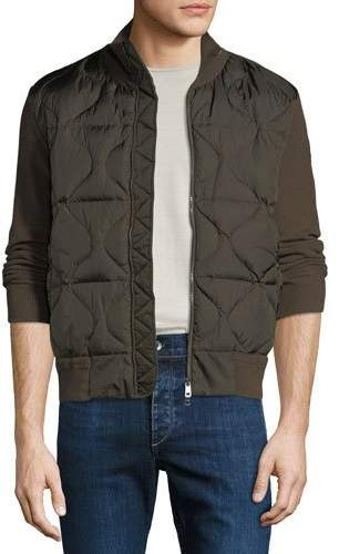 Moncler Men's Quilted Knit-Trim Down Combo Jacket