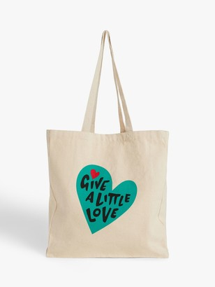 John Lewis & Partners Give a Little Love Cotton Tote Bag, Natural/Teal