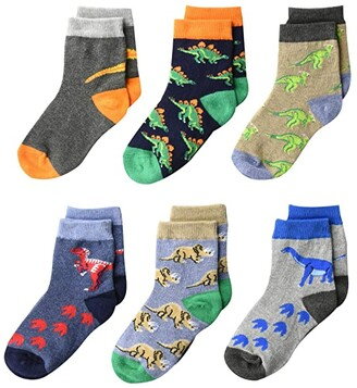 Jefferies Socks Dinosaur Pattern Crew Socks 6-Pack (Infant/Toddler/Little Kid/Big Kid) (Multi) Boys Shoes