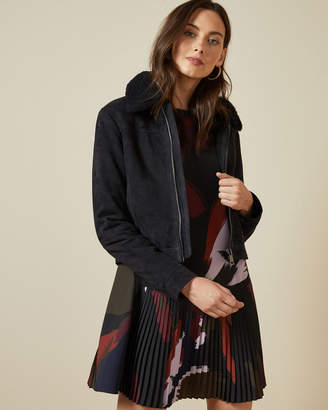 Ted Baker TAZANNA Suede jacket with shearling trim