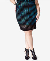 Mblm by Tess Holliday Trendy Plus Size Mesh-Overlay Pencil Skirt