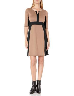 Star Vixen Women's Elbow Sleeve Colorblock Fit N Flare Dress Red/Black Small