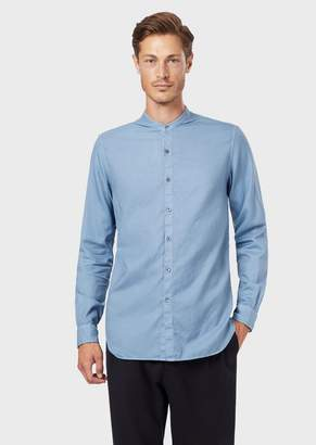 Giorgio Armani Regular-Fit Shirt In Dyed, Patterned Fabric With Guru Collar