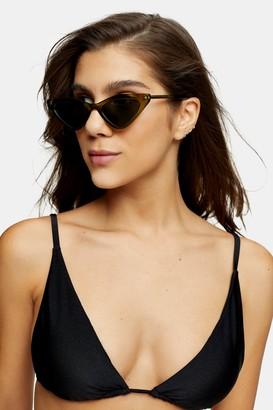 Topshop Womens Considered Black Shiny High Apex Triangle Bikini Top - Black