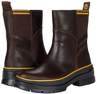 Timberland Malynn Waterproof Leather and Fabric Side-Zip Boot (Dark Brown Full Grain) Women's Shoes
