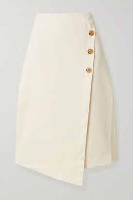 Co Asymmetric Cotton And Wool-blend Wrap Skirt - Cream
