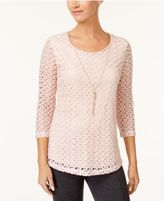 JM Collection Crocheted Necklace Top, Created for Macy's