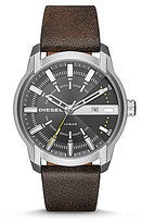 Diesel Armbar Analog & Date Leather-Strap Watch