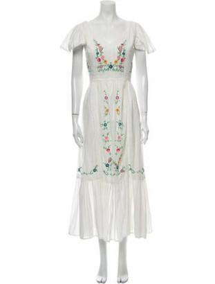 LoveShackFancy Floral Print Long Dress White