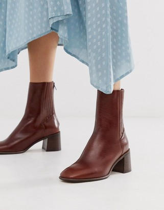Miista Eeight E8 by Inka leather mid heeled boot with wooden heel in brown