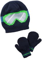 Carter's Toddler Boy Ski Goggles Beanie Hat & Mittens Set