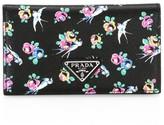 Prada Swallow-Print Leather French Wallet