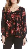 Karen Kane Tassel Sleeve Embroidered Top