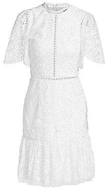 ML Monique Lhuillier Women's Short Bell-Sleeve Floral Embroidery Dress