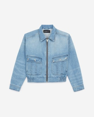 The Kooples Cotton zipped blue denim jacket with pockets