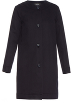 A.P.C. Hillary collarless cotton-twill coat