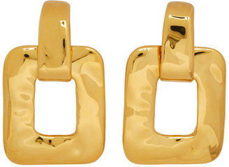 Saint Laurent Gold Beaten Metal Square Earrings
