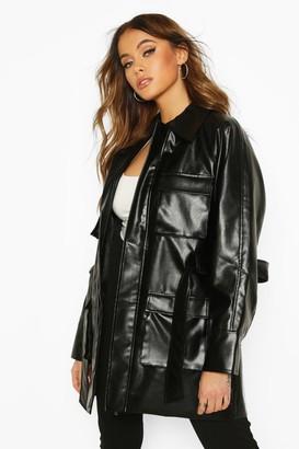 boohoo Utility Pocket Leather Look Jacket
