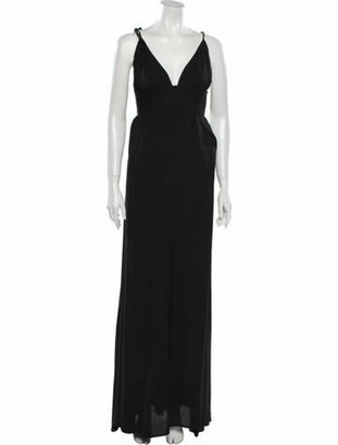 Reformation V-Neck Long Dress Black