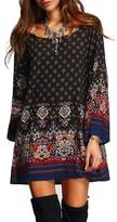 Angelsweet Angel Women's Bohemian Vintage Printed Ethnic Style Loose Casual Tunic Dress