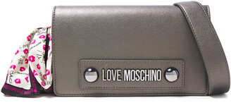 Love Moschino Bow-detailed Logo-embellished Faux Leather Shoulder Bag