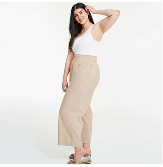 Joe Fresh Women+ Elastic Waist Pants, Light Khaki Brown (Size 3X)