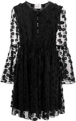 Blumarine Floral Embroidered Flared Dress