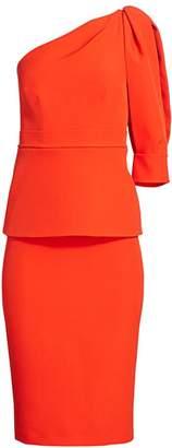 Safiyaa One-Sleeve Heavy Crepe Sheath Dress