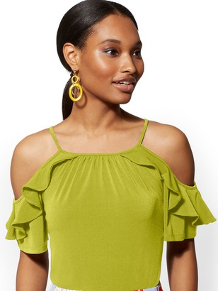 New York & Co. Ruffled Cold-Shoulder Top - 7th Avenue