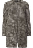 Dorothy Perkins Womens Monochrome Texture Collarless Coat- Black