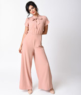 Moon Collection 1940s Style Blush Pink Cap Sleeve Wide Leg Jumpsuit