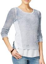 I.N.C International Concepts Petite Acid Wash Layered-Look Sweater