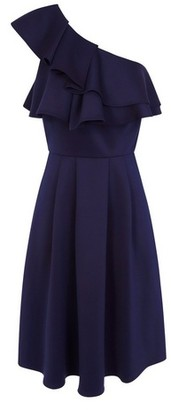 Dorothy Perkins Womens Chi Chi London Navy Asymmetric Frill Midi Skater Dress, Navy