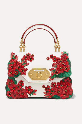 Dolce & Gabbana Portofino Welcome Embellished Smooth And Lizard-effect Leather Tote - Red