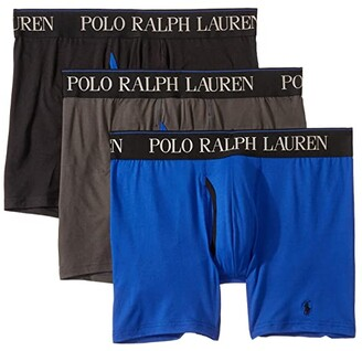 Polo Ralph Lauren 3-Pack 4D-Flex Cool Microfiber Boxer Briefs (Charcoal Grey/Rugby Royal/Polo Black) Men's Underwear