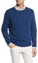 Loro Piana Girocollo Cashmere Tweed Cable Sweater, Blue Depths