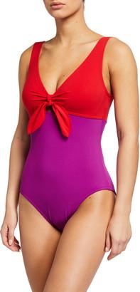 Karla Colletto Alula V-Neck Underwire One-Piece Swimsuit