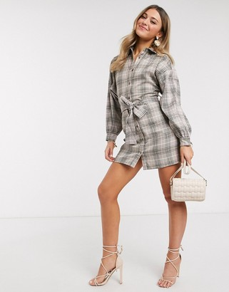 In The Style x Fashion Influx shirt dress with belt in brown check