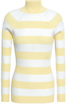 Thumbnail for your product : Zimmermann Striped Ribbed-knit Turtleneck Sweater