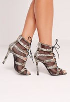 Missguided Mesh Lace Up Heeled Sandal Snake Green