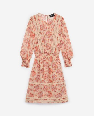 The Kooples Short printed dress with inlaid lace