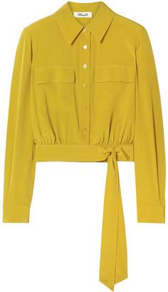 Diane von Furstenberg Everlynn Cropped Belted Silk Crepe De Chine Shirt