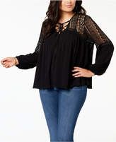 Soprano Trendy Plus Size Lace-Yoke Peasant Top